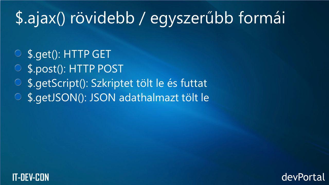 IT-DEV-CON $.get(): HTTP GET $.post(): HTTP POST $.getScript(): Szkriptet tölt le és futtat $.getJSON(): JSON adathalmazt tölt le $.ajax() rövidebb /