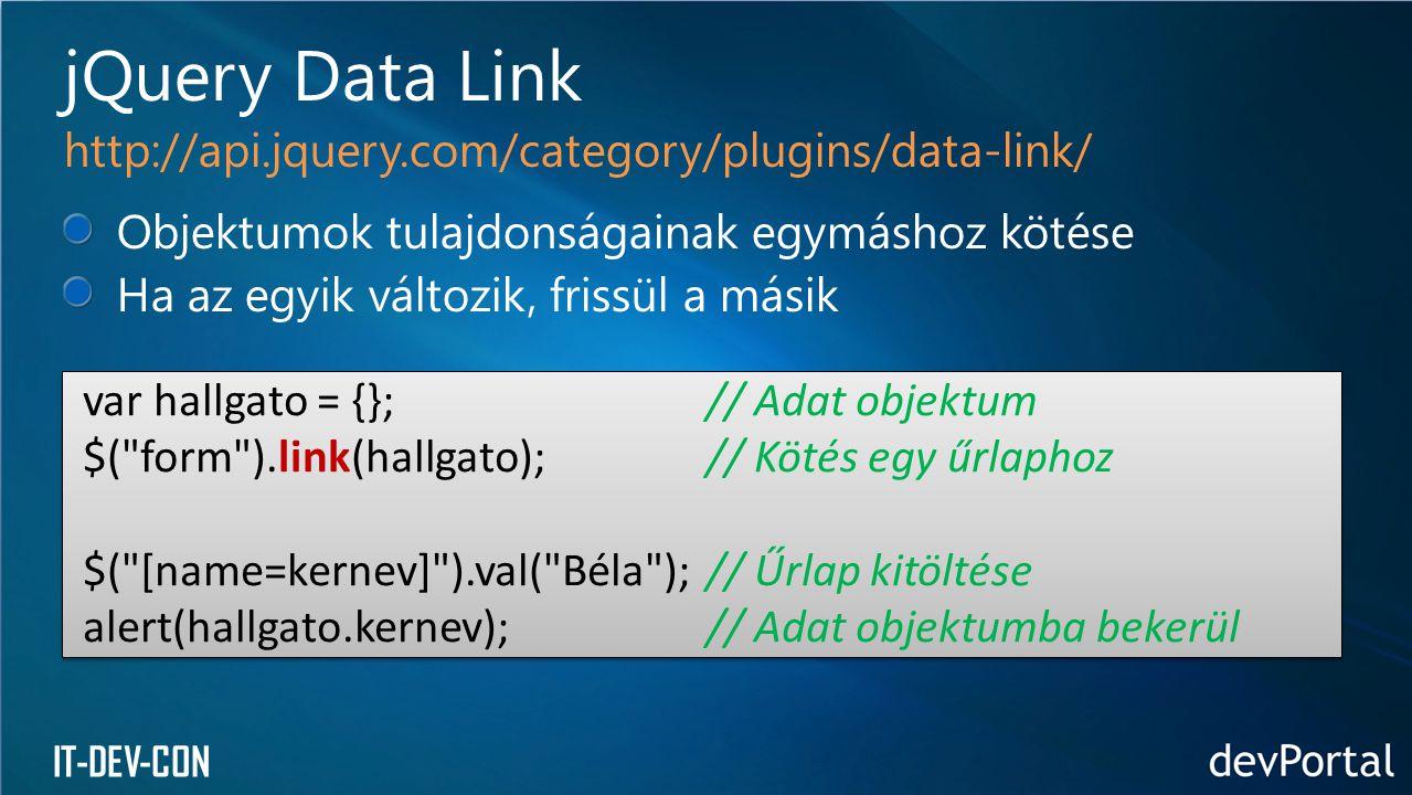 IT-DEV-CON Objektumok tulajdonságainak egymáshoz kötése Ha az egyik változik, frissül a másik jQuery Data Link http://api.jquery.com/category/plugins/