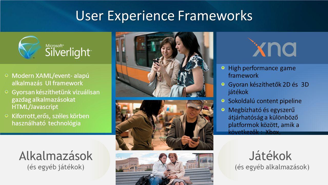 User Experience Frameworks Modern XAML/event- alapú alkalmazás UI framework Gyorsan készíthetünk vizuálisan gazdag alkalmazásokat HTML/Javascript Kiforrott,erős, széles körben használható technológia Játékok (és egyéb alkalmazások) Alkalmazások (és egyéb játékok)