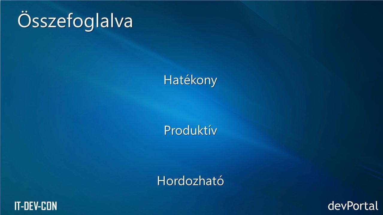 IT-DEV-CON HatékonyProduktívHordozható Összefoglalva