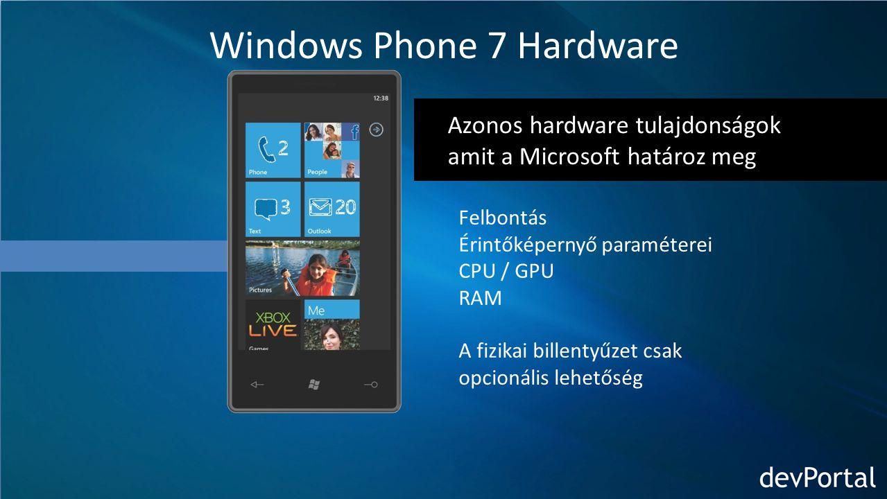 Azonos hardware tulajdonságok amit a Microsoft határoz meg Windows Phone 7 Hardware Felbontás Érintőképernyő paraméterei CPU / GPU RAM A fizikai billentyűzet csak opcionális lehetőség