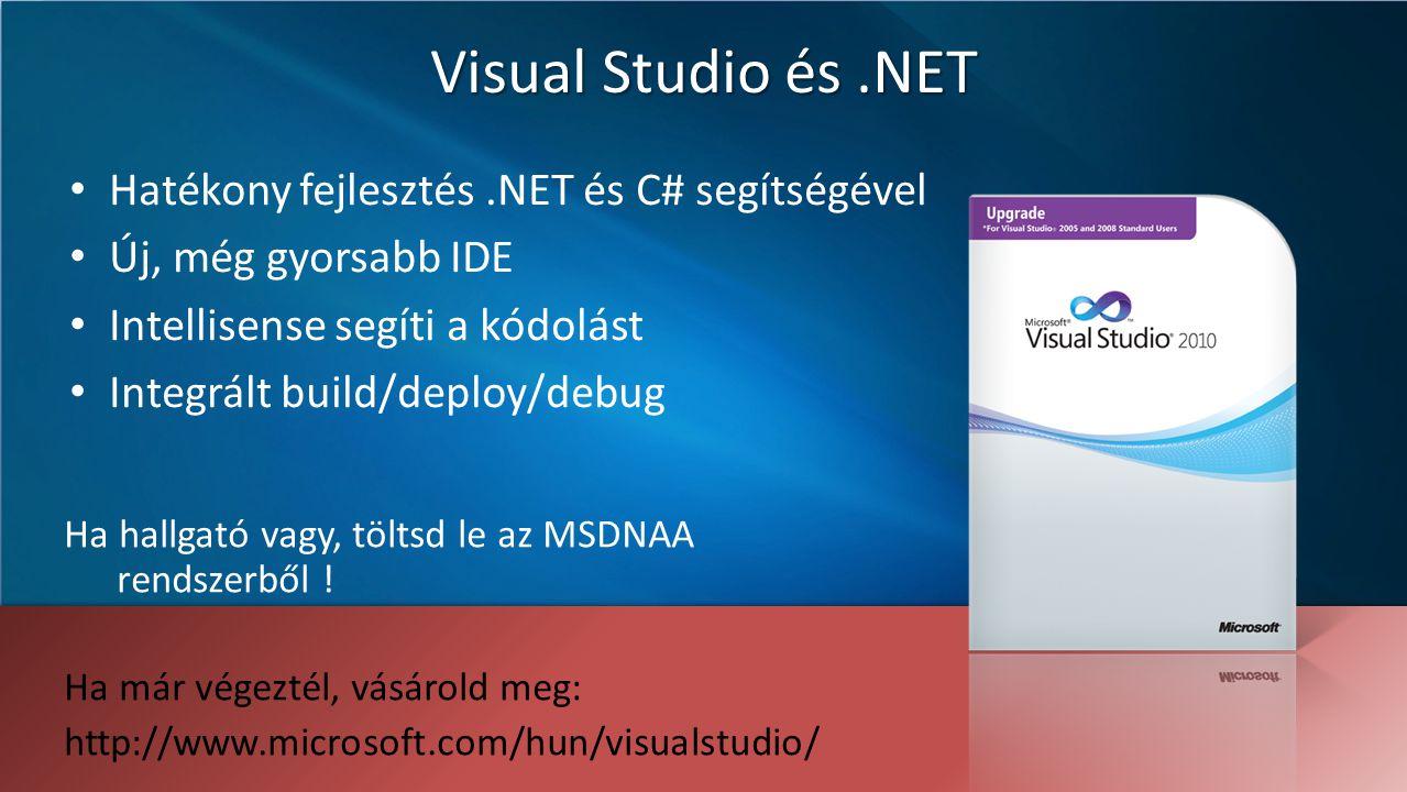 Visual Studio és.NET Hatékony fejlesztés.NET és C# segítségével Új, még gyorsabb IDE Intellisense segíti a kódolást Integrált build/deploy/debug