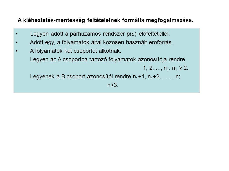 A kiéheztetés-mentesség feltételeinek formális megfogalmazása. Legyen adott a párhuzamos rendszer p(  ) előfeltétellel. Adott egy, a folyamatok által