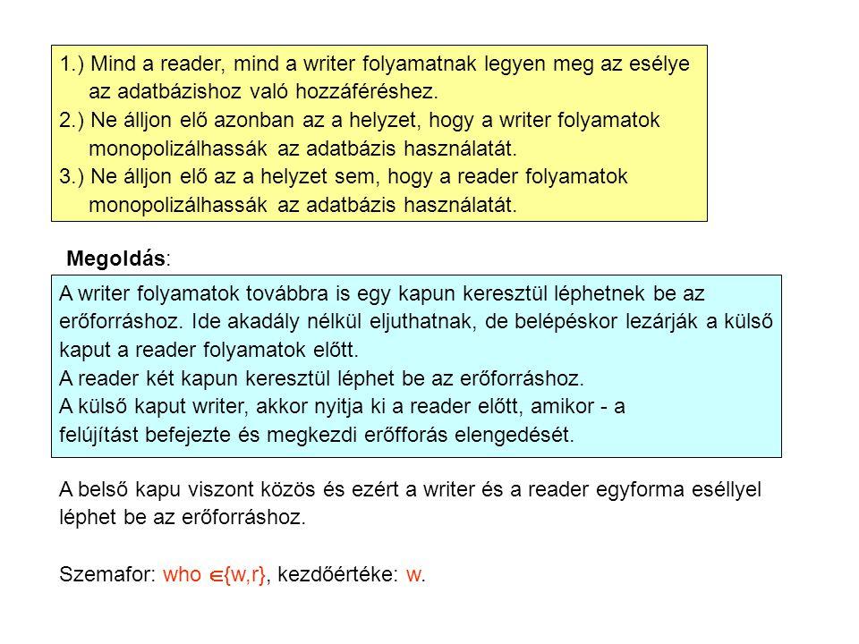 1.) Mind a reader, mind a writer folyamatnak legyen meg az esélye az adatbázishoz való hozzáféréshez. 2.) Ne álljon elő azonban az a helyzet, hogy a w