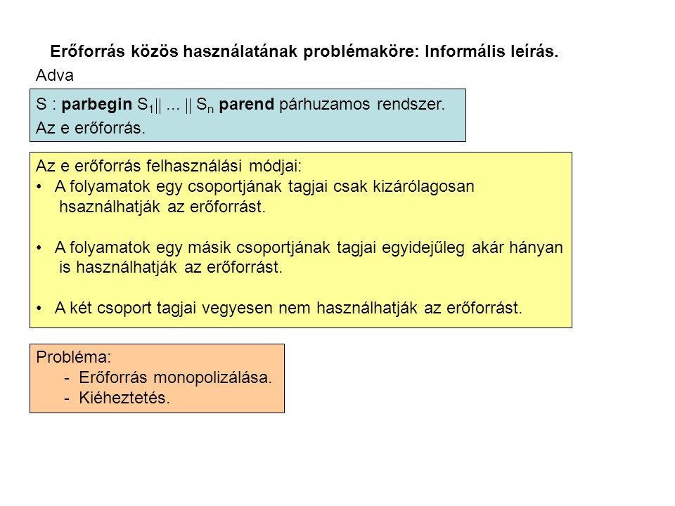 Erőforrás közös használatának problémaköre: Informális leírás. Adva S : parbegin S 1 ...  S n parend párhuzamos rendszer. Az e erőforrás. Az e erő