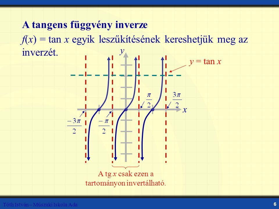 Tóth István – Műszaki Iskola Ada 6 Inverse Tangent Function A tangens függvény inverze f(x) = tan x egyik leszűkítésének kereshetjük meg az inverzét.
