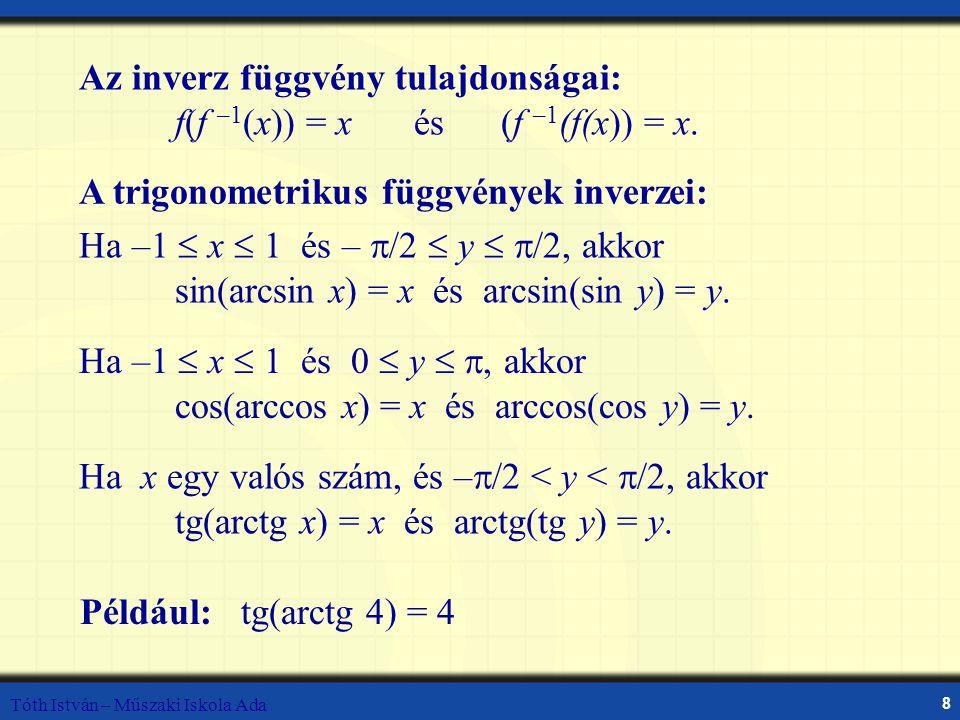 Tóth István – Műszaki Iskola Ada 8 Composition of Functions Az inverz függvény tulajdonságai: f(f –1 (x)) = x és (f –1 (f(x)) = x. Ha –1  x  1 és –