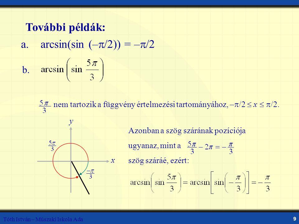 Tóth István – Műszaki Iskola Ada 9 a. arcsin(sin (–  /2)) = –  /2 További példák: nem tartozik a függvény értelmezési tartományához, –  /2  x  