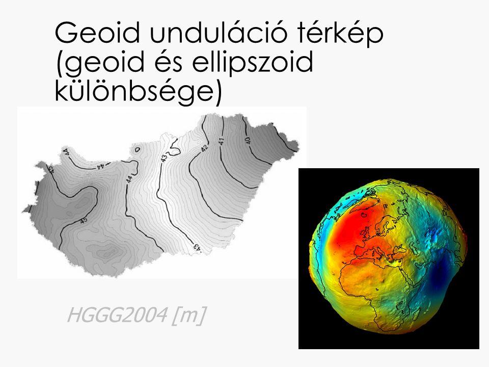 Geoid unduláció térkép (geoid és ellipszoid különbsége) HGGG2004 [m]