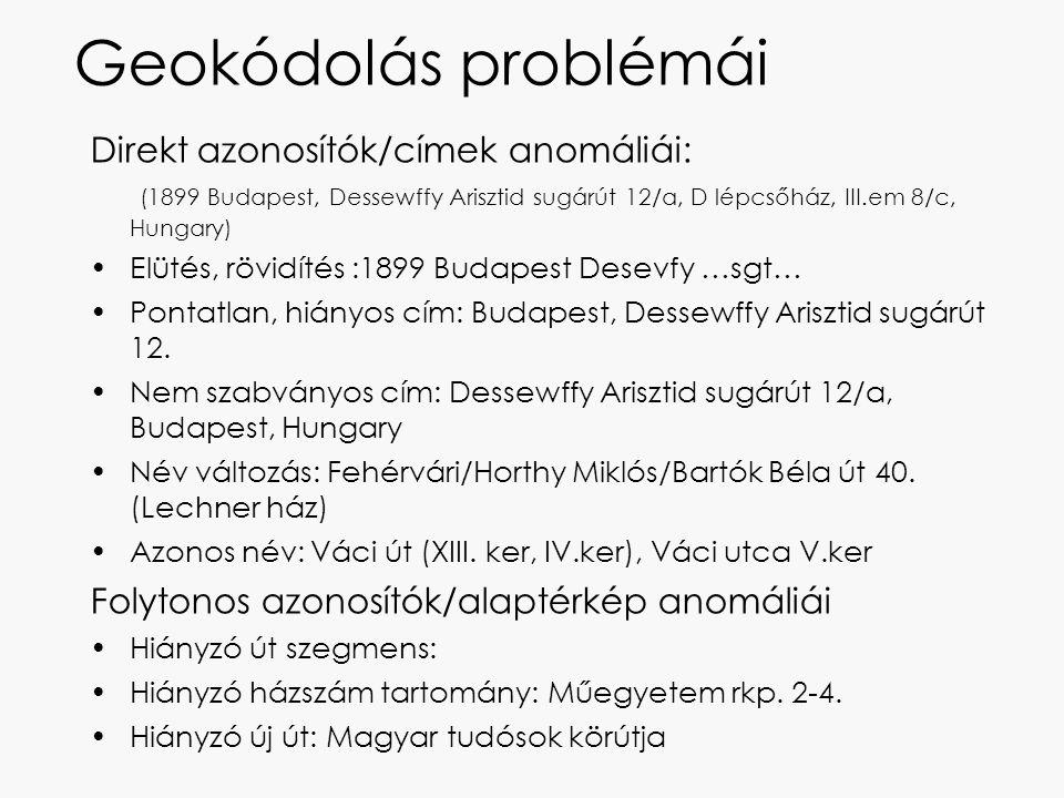 Geokódolás problémái Direkt azonosítók/címek anomáliái: (1899 Budapest, Dessewffy Arisztid sugárút 12/a, D lépcsőház, III.em 8/c, Hungary) Elütés, röv
