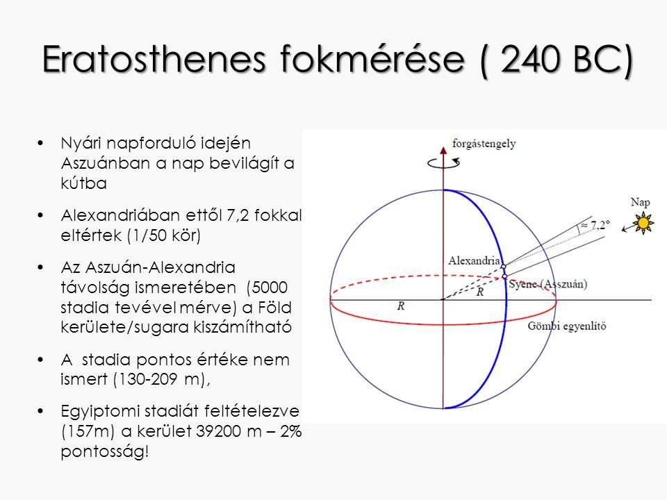 Eratosthenes fokmérése ( 240 BC) Nyári napforduló idején Aszuánban a nap bevilágít a kútba Alexandriában ettől 7,2 fokkal eltértek (1/50 kör) Az Aszuá