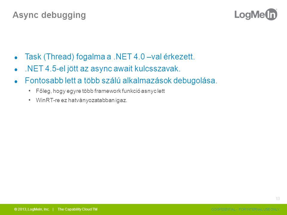 Async debugging ● Task (Thread) fogalma a.NET 4.0 –val érkezett.