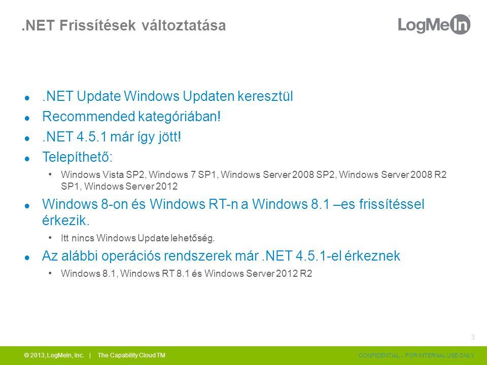 .NET Frissítések változtatása ●.NET Update Windows Updaten keresztül ● Recommended kategóriában.