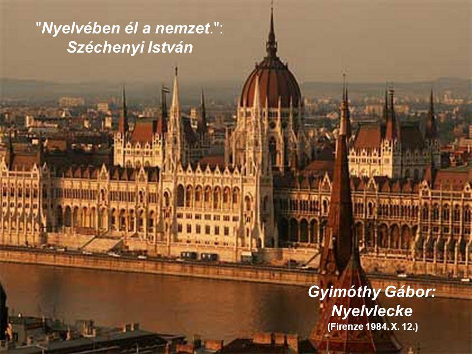 Nyelvében él a nemzet. : Széchenyi István Gyimóthy Gábor: Nyelvlecke (Firenze 1984. X. 12.)