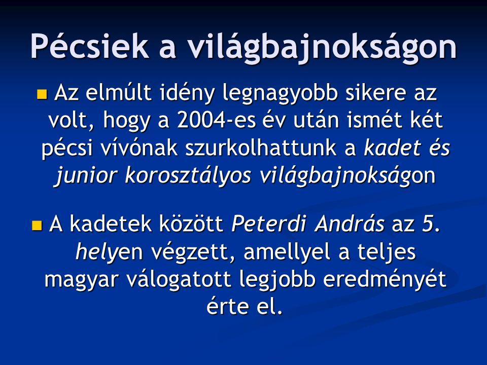 Pécsiek a világbajnokságon Az elmúlt idény legnagyobb sikere az volt, hogy a 2004-es év után ismét két pécsi vívónak szurkolhattunk a kadet és junior korosztályos világbajnokságon Az elmúlt idény legnagyobb sikere az volt, hogy a 2004-es év után ismét két pécsi vívónak szurkolhattunk a kadet és junior korosztályos világbajnokságon A kadetek között Peterdi András az 5.