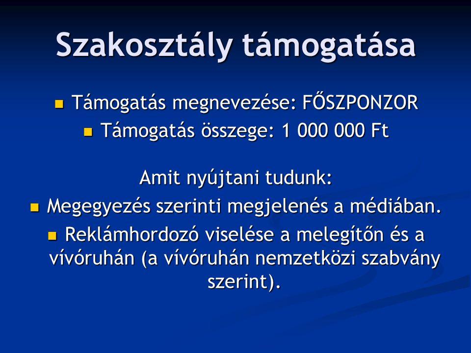 Szakosztály támogatása Támogatás megnevezése: FŐSZPONZOR Támogatás megnevezése: FŐSZPONZOR Támogatás összege: 1 000 000 Ft Támogatás összege: 1 000 000 Ft Amit nyújtani tudunk: Megegyezés szerinti megjelenés a médiában.