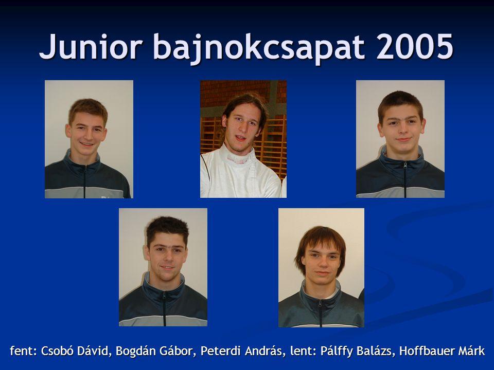Junior bajnokcsapat 2005 fent: Csobó Dávid, Bogdán Gábor, Peterdi András, lent: Pálffy Balázs, Hoffbauer Márk