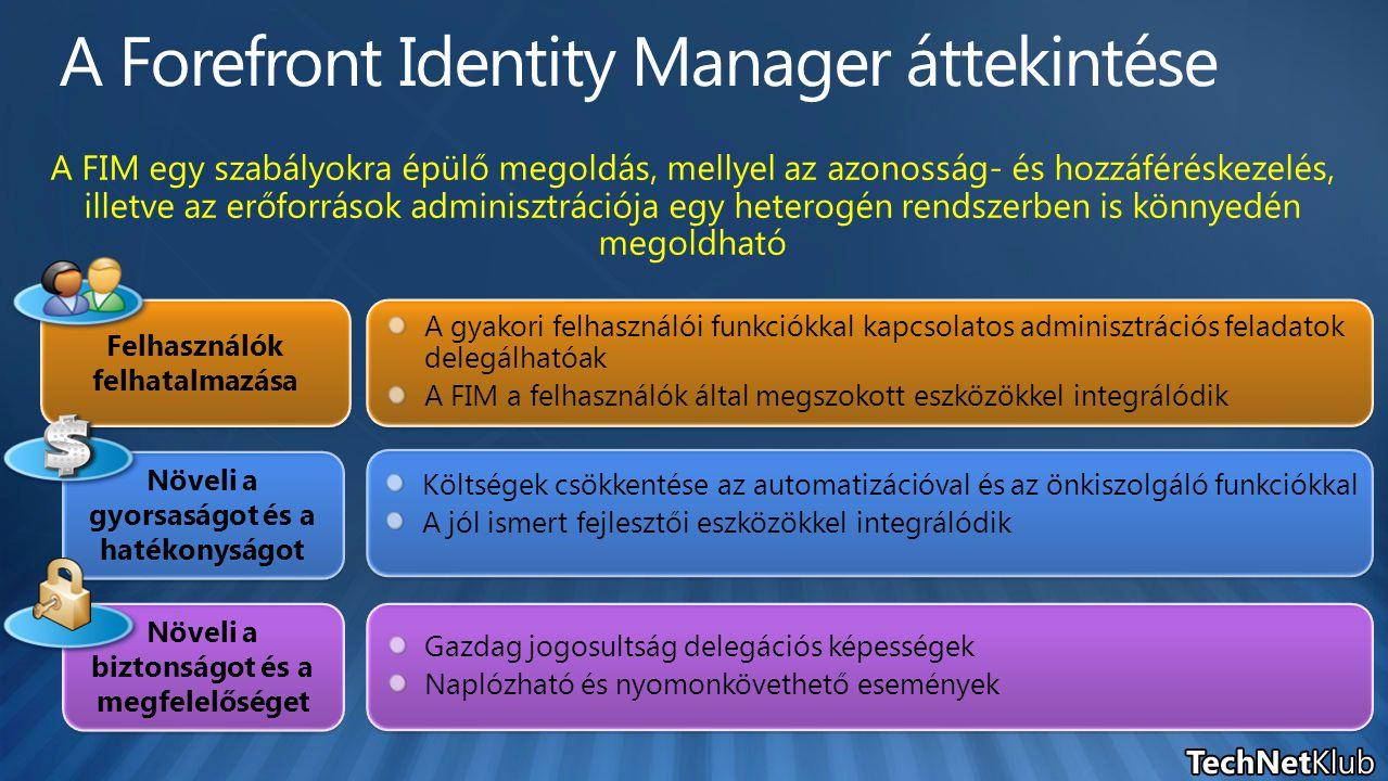 A gyakori felhasználói funkciókkal kapcsolatos adminisztrációs feladatok delegálhatóak A FIM a felhasználók által megszokott eszközökkel integrálódik