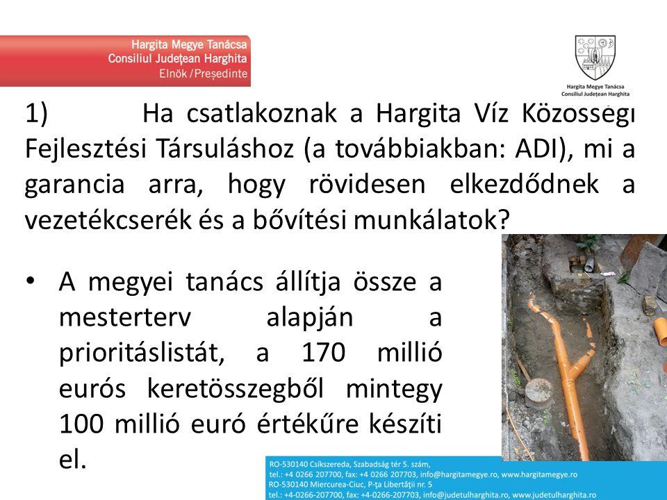 """1) În cazul aderării la Asociația de Dezvoltare Intercomunitară """"Hargita Víz , care este garanția că aceasta va demara în scurt timp lucrările de înlocuire și extindere a rețelei de apă."""