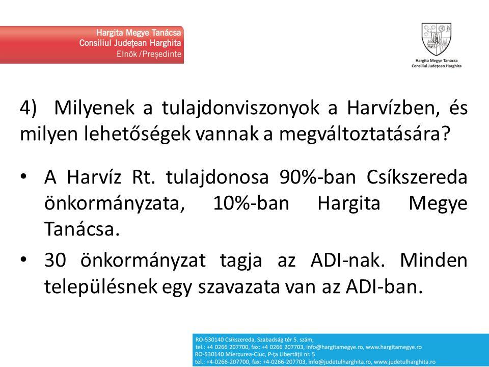 4) Milyenek a tulajdonviszonyok a Harvízben, és milyen lehetőségek vannak a megváltoztatására? A Harvíz Rt. tulajdonosa 90%-ban Csíkszereda önkormányz