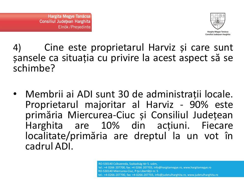 4) Cine este proprietarul Harviz și care sunt șansele ca situația cu privire la acest aspect să se schimbe? Membrii ai ADI sunt 30 de administrații lo