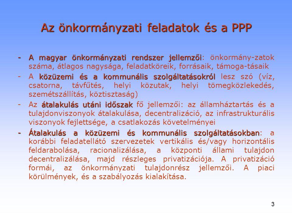 3 Az önkormányzati feladatok és a PPP -A magyar önkormányzati rendszer jellemzői -A magyar önkormányzati rendszer jellemzői: önkormány-zatok száma, át