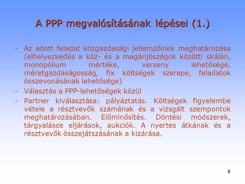6 A PPP megvalósításának lépései (1.) -Az adott feladat közgazdasági jellemzőinek meghatározása (elhelyezkedés a köz- és a magánjószágok közötti skálá