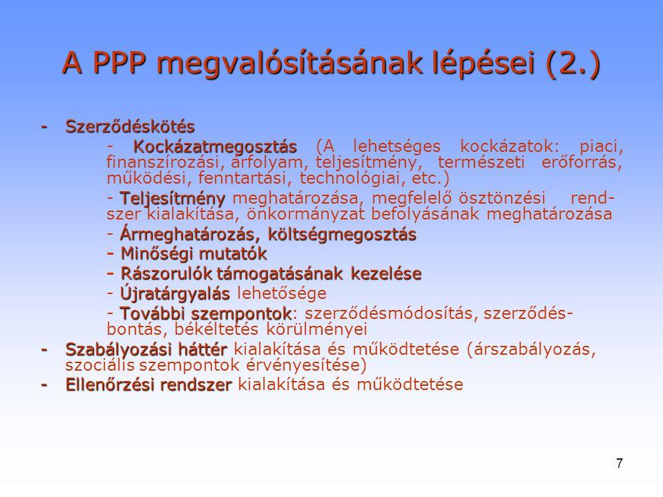 7 A PPP megvalósításának lépései (2.) -Szerződéskötés Kockázatmegosztás - Kockázatmegosztás (A lehetséges kockázatok: piaci, finanszírozási, árfolyam,