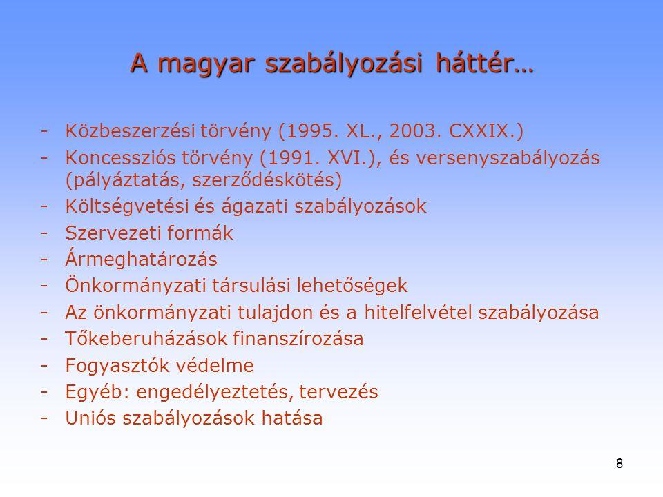 8 A magyar szabályozási háttér… - Közbeszerzési törvény (1995. XL., 2003. CXXIX.) -Koncessziós törvény (1991. XVI.), és versenyszabályozás (pályáztatá