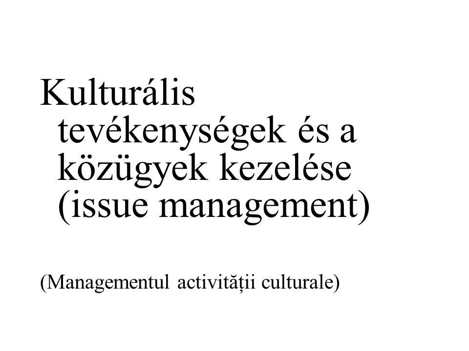 Kulturális tevékenységek és a közügyek kezelése (issue management) (Managementul activităţii culturale)