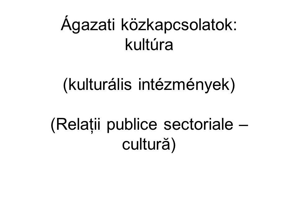 Ágazati közkapcsolatok: kultúra (kulturális intézmények) (Relaţii publice sectoriale – cultură)