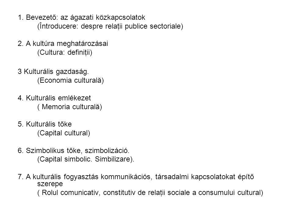 1.Bevezető: az ágazati közkapcsolatok (Întroducere: despre relaţii publice sectoriale) 2.