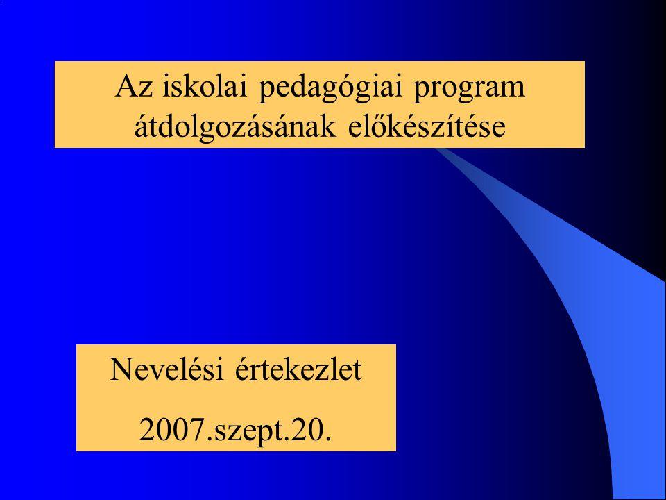 Az iskolai pedagógiai program átdolgozásának előkészítése Nevelési értekezlet 2007.szept.20.