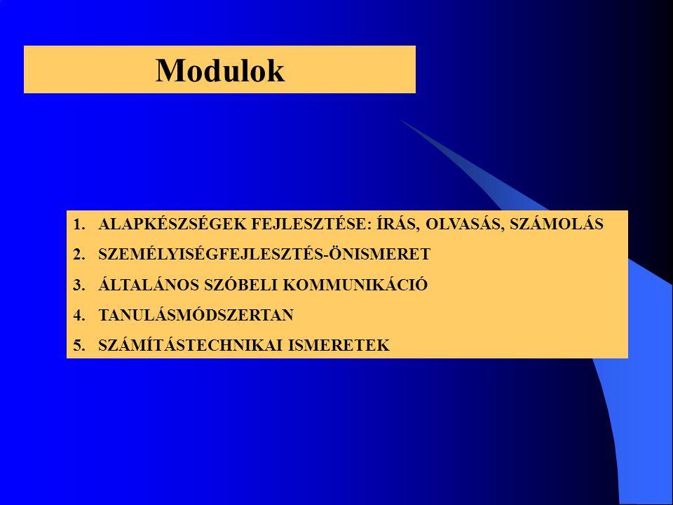 Modulok 1.ALAPKÉSZSÉGEK FEJLESZTÉSE: ÍRÁS, OLVASÁS, SZÁMOLÁS 2.SZEMÉLYISÉGFEJLESZTÉS-ÖNISMERET 3.ÁLTALÁNOS SZÓBELI KOMMUNIKÁCIÓ 4.TANULÁSMÓDSZERTAN 5.SZÁMÍTÁSTECHNIKAI ISMERETEK