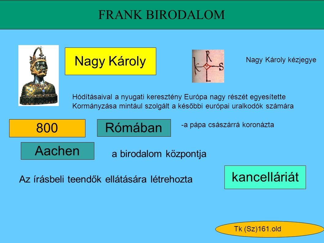 FRANK BIRODALOM kancelláriát 800 Nagy Károly Aachen Tk (Sz)161.old Nagy Károly kézjegye Hódításaival a nyugati keresztény Európa nagy részét egyesítet