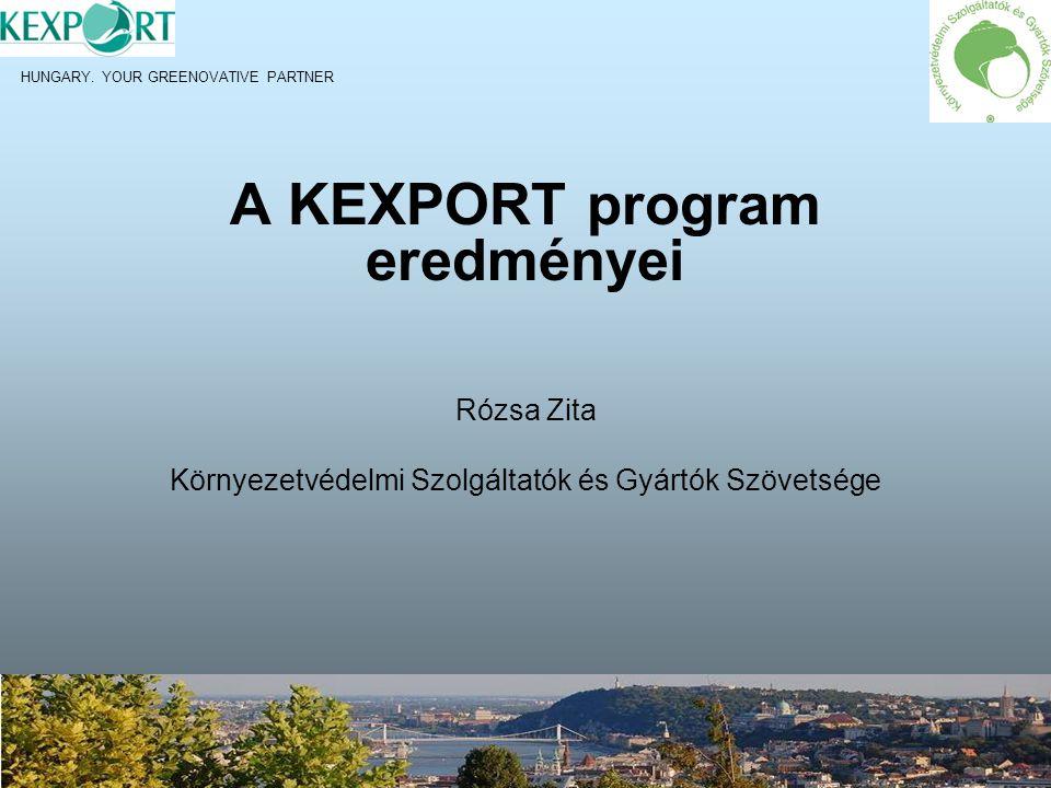 KEXPORT PROGRAM LÉTREJÖTTE 2007-ben a KSZGYSZ, a KvVM, az ITDH és az NKTH között együttműködési megállapodás aláírásával létrejön a KEXPORT Program Fő célja: - - környezetbarát innovatív technológiák és megoldások transzferjének támogatása - - magyar környezet-és vízipari vállalkozások exporttevékenységének elősegítése KEXPORT földrajzi irányai Dél-kelet Ázsia Független Államok Közössége Közel-Kelet Dél-kelet Európa Klubrendszer létrejötte: - Ázsia Klub (résztvevők száma: 22 cég) - Balkán Klub (résztvevők száma: 38 cég) - FÁK Klub (résztvevők száma: 22 cég)