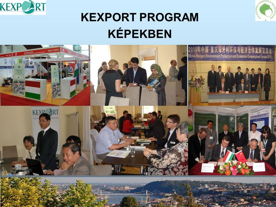 KEXPORT PROGRAM EREDMÉNYEI Konkrét projektek megvalósítása európai és ázsiai nemzeti programok keretében (többek között biológiai szennyvíztisztítás, hulladékgazdálkodás, vízbázisok védelme, kármentesítés, ivóvíztisztítás és a termálvizek hasznosítása terén) EURÓPA Romániában az Olt mintaprojekt elindítása Kb.