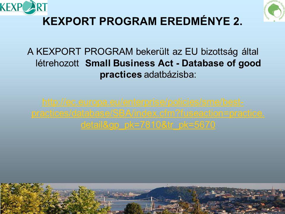 KEXPORT PROGRAM EREDMÉNYE 2. A KEXPORT PROGRAM bekerült az EU bizottság által létrehozott Small Business Act - Database of good practices adatbázisba: