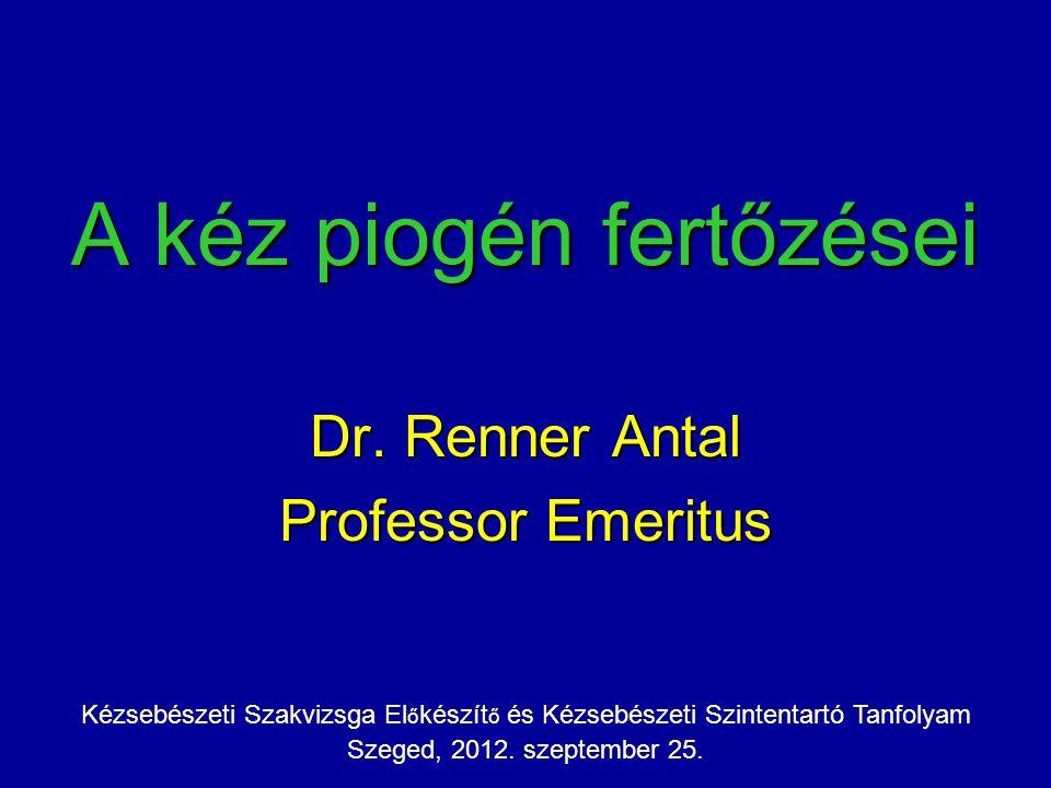 A kéz piogén fertőzései Dr. Renner Antal Professor Emeritus Kézsebészeti Szakvizsga El ő készít ő és Kézsebészeti Szintentartó Tanfolyam Szeged, 2012.