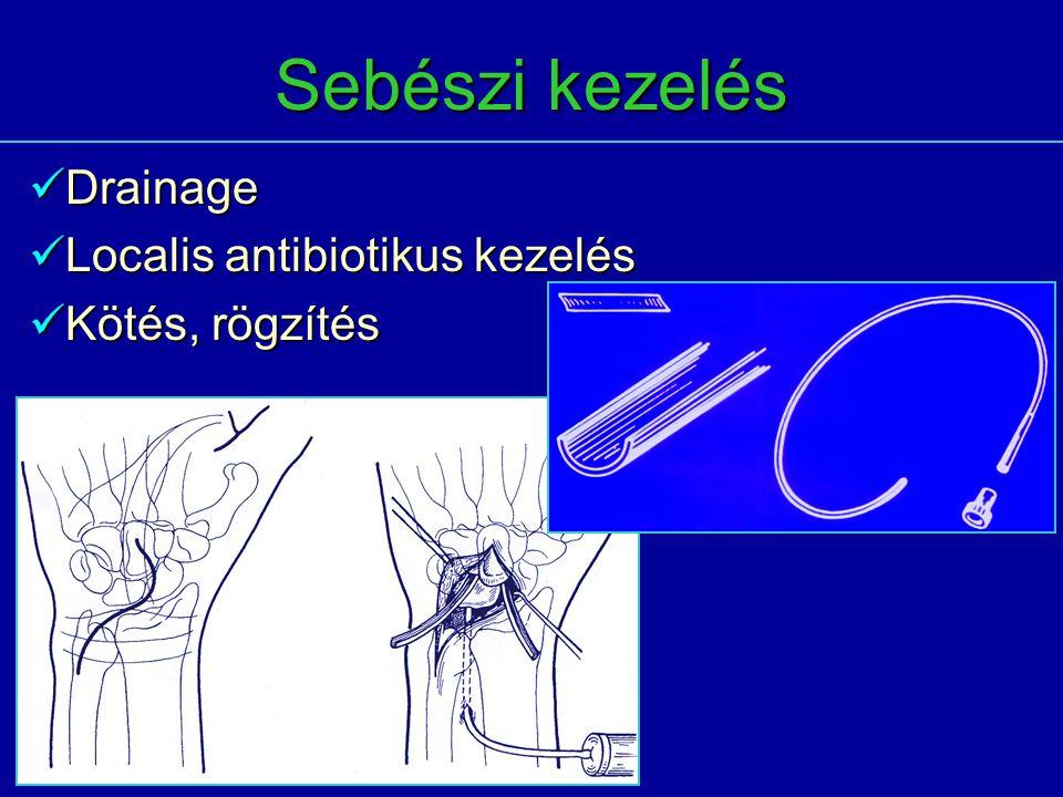 Sebészi kezelés Drainage Drainage Localis antibiotikus kezelés Localis antibiotikus kezelés Kötés, rögzítés Kötés, rögzítés