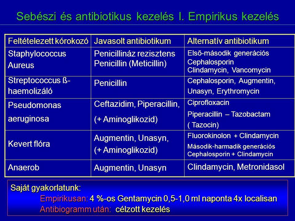 Sebészi és antibiotikus kezelés I. Empirikus kezelés Feltételezett kórokozóJavasolt antibiotikumAlternatív antibiotikum Staphylococcus Aureus Streptoc