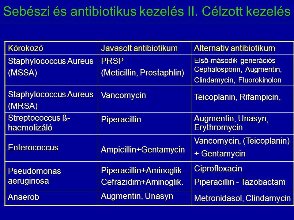Sebészi és antibiotikus kezelés II. Célzott kezelés Kórokozó Javasolt antibiotikum Alternativ antibiotikum Staphylococcus Aureus (MSSA) (MRSA) Strepto