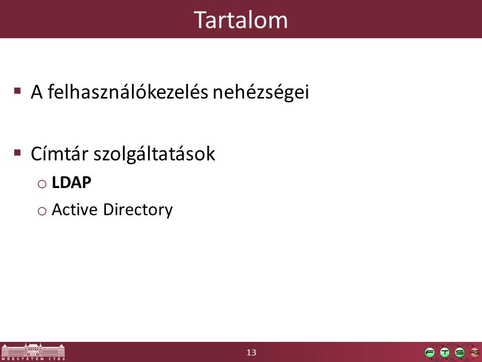 13 Tartalom  A felhasználókezelés nehézségei  Címtár szolgáltatások o LDAP o Active Directory