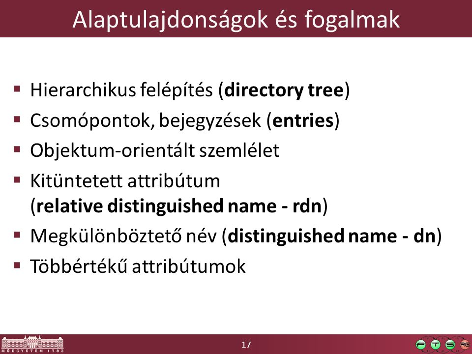 17 Alaptulajdonságok és fogalmak  Hierarchikus felépítés (directory tree)  Csomópontok, bejegyzések (entries)  Objektum-orientált szemlélet  Kitüntetett attribútum (relative distinguished name - rdn)  Megkülönböztető név (distinguished name - dn)  Többértékű attribútumok
