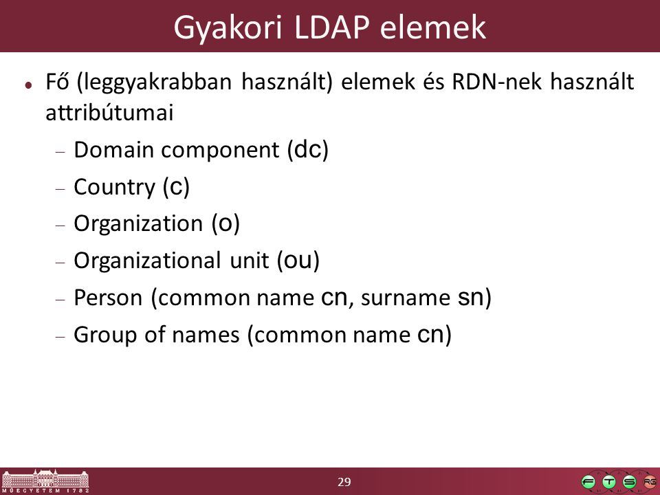 29 Gyakori LDAP elemek Fő (leggyakrabban használt) elemek és RDN-nek használt attribútumai  Domain component ( dc )  Country ( c )  Organization ( o )  Organizational unit ( ou )  Person (common name cn, surname sn )  Group of names (common name cn )