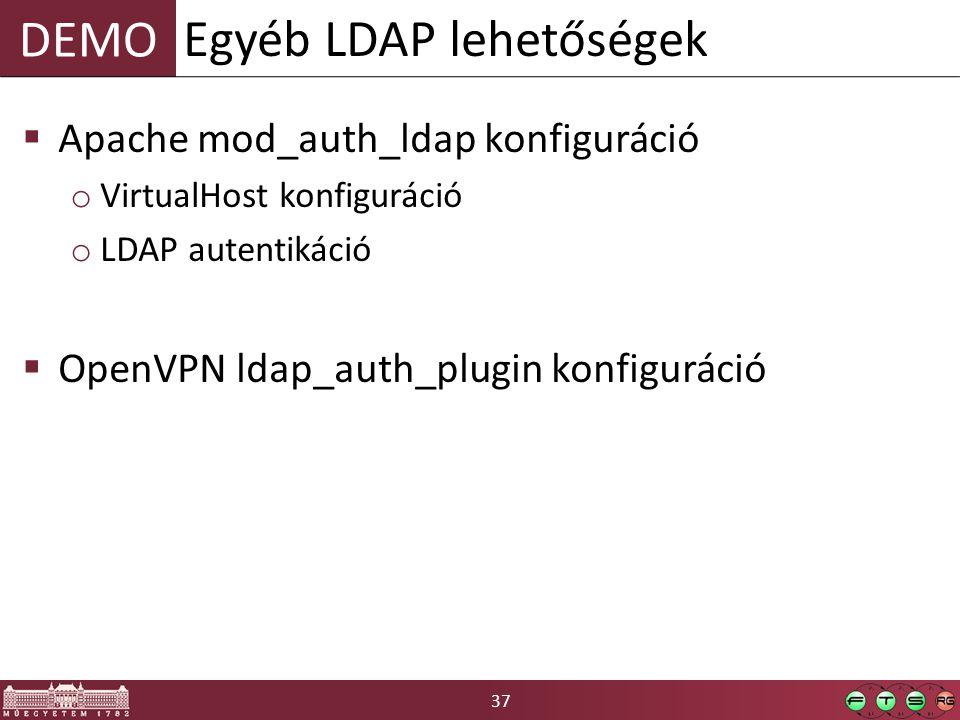 37 DEMO  Apache mod_auth_ldap konfiguráció o VirtualHost konfiguráció o LDAP autentikáció  OpenVPN ldap_auth_plugin konfiguráció Egyéb LDAP lehetőségek