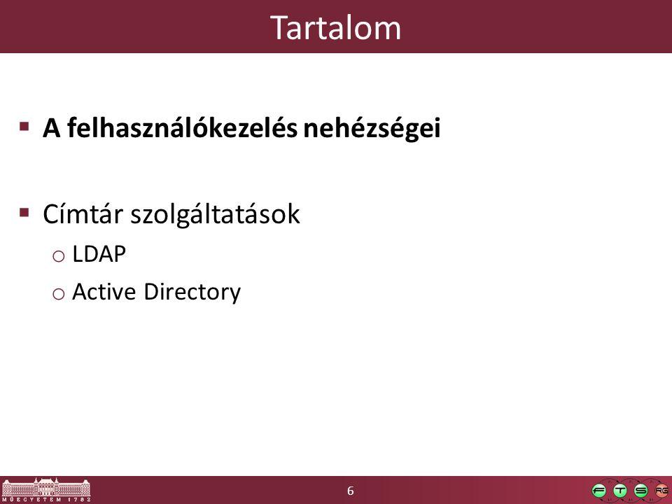 6 Tartalom  A felhasználókezelés nehézségei  Címtár szolgáltatások o LDAP o Active Directory