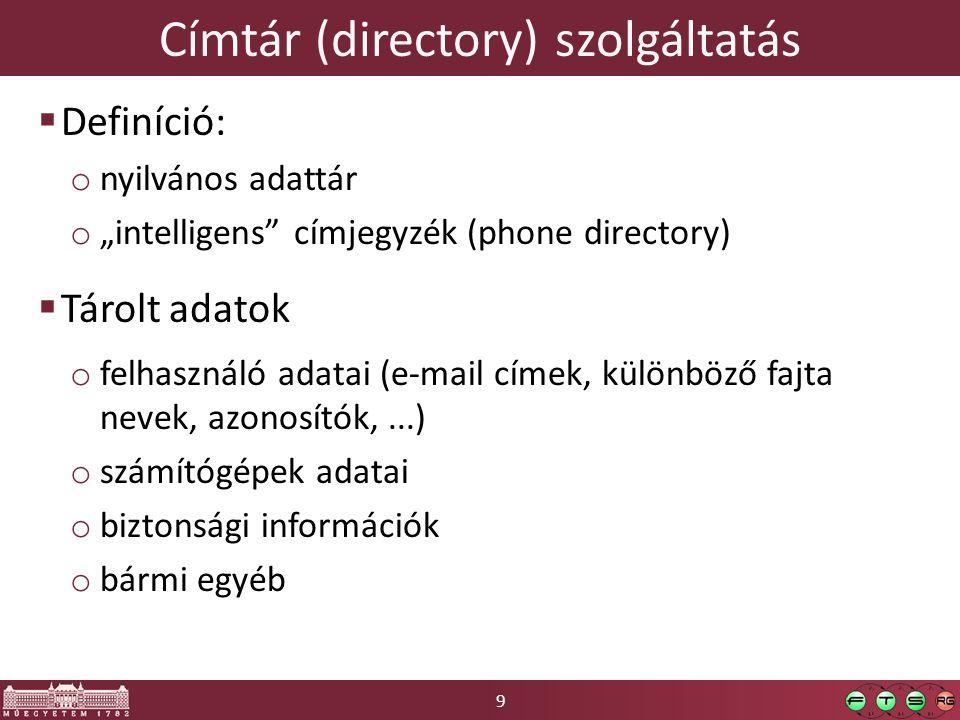 """9 Címtár (directory) szolgáltatás  Definíció: o nyilvános adattár o """"intelligens címjegyzék (phone directory)  Tárolt adatok o felhasználó adatai (e-mail címek, különböző fajta nevek, azonosítók,...) o számítógépek adatai o biztonsági információk o bármi egyéb"""