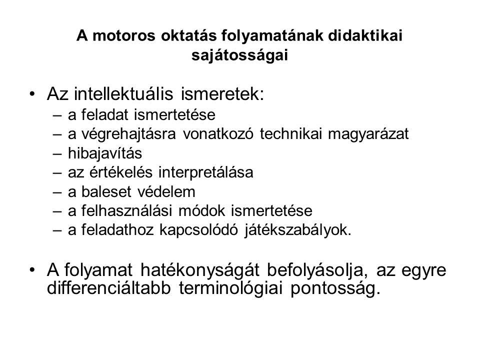 A motoros oktatás folyamatának didaktikai sajátosságai Az intellektuális ismeretek: –a feladat ismertetése –a végrehajtásra vonatkozó technikai magyar
