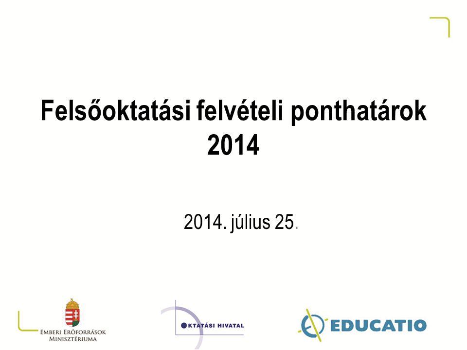 Felsőoktatási felvételi ponthatárok 2014 2014. július 25.